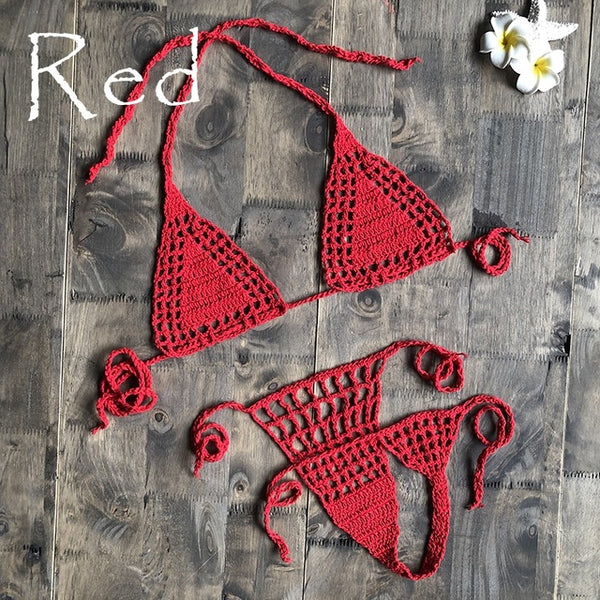 Festival Style Halter Neck Tie Up Crochet Bikini Retro & Revealing Top & Briefs - yambi.co.uk