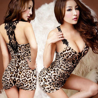 Women Sexy Underwear Polyester Nightdress Stretch Bodycon Mini Dress Sleepwear Sexy Lingerie Nightgown with G-string Free Size - yambi.co.uk