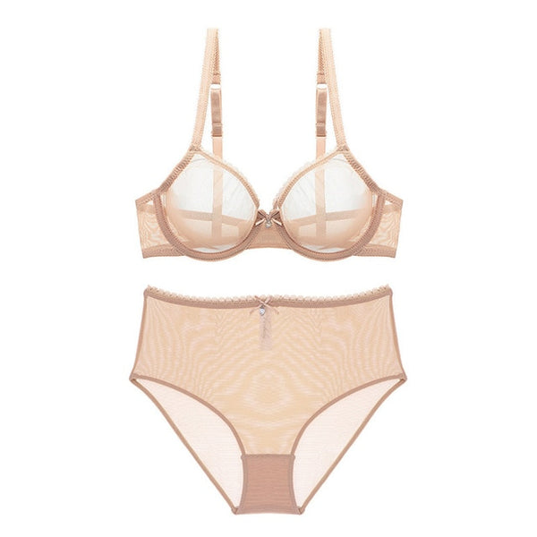 Ultra Sexy see-through, transparent high-waist briefs, bra and pantie set - yambi.co.uk
