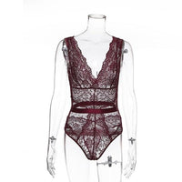 Lace Bodysuit, Floral Embroidery Deep V Neck. - yambi.co.uk