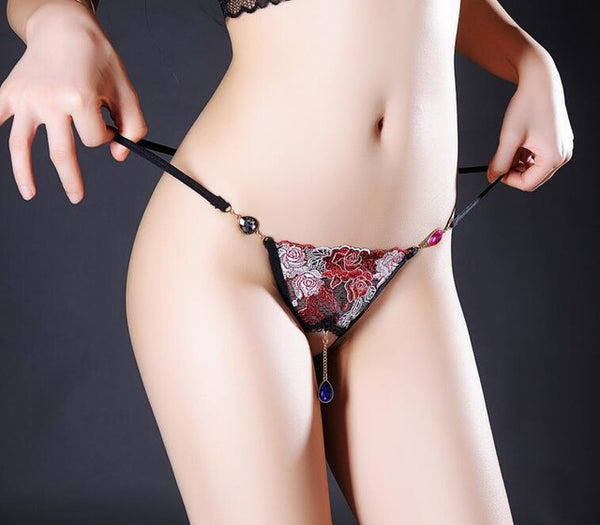 Sexy & Pretty Thong Panties Lace Floral Pendant Panties With Body Jewelry. - yambi.co.uk