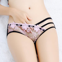 Sexy panties, embroidery lace transparent brief, low waist. - yambi.co.uk