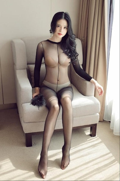Women Crotchless sheer bodystocking Full Body shiny pantyhose sexy open crotch girl High elastic Tights Stocking - yambi.co.uk