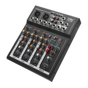 LEORY Black 4 Channels Audio Sound Mixing DJ Equipment DJ Audio Mixer Console With USB MP3 Jack Live For Karaoke KTV Speech
