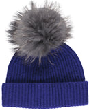 wool beanie with fur