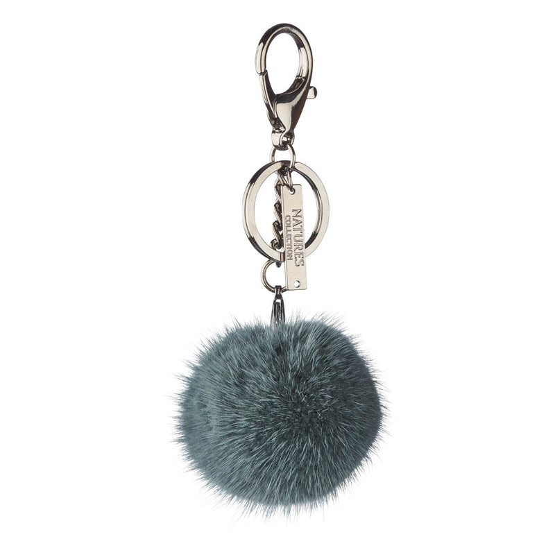 Mink Pom Pom, 6 cm with black metal keyring