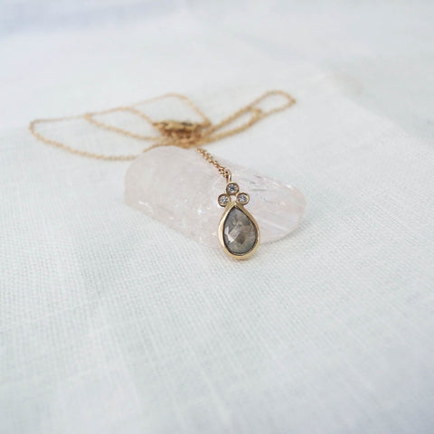 Rose cut natural gray diamond necklace
