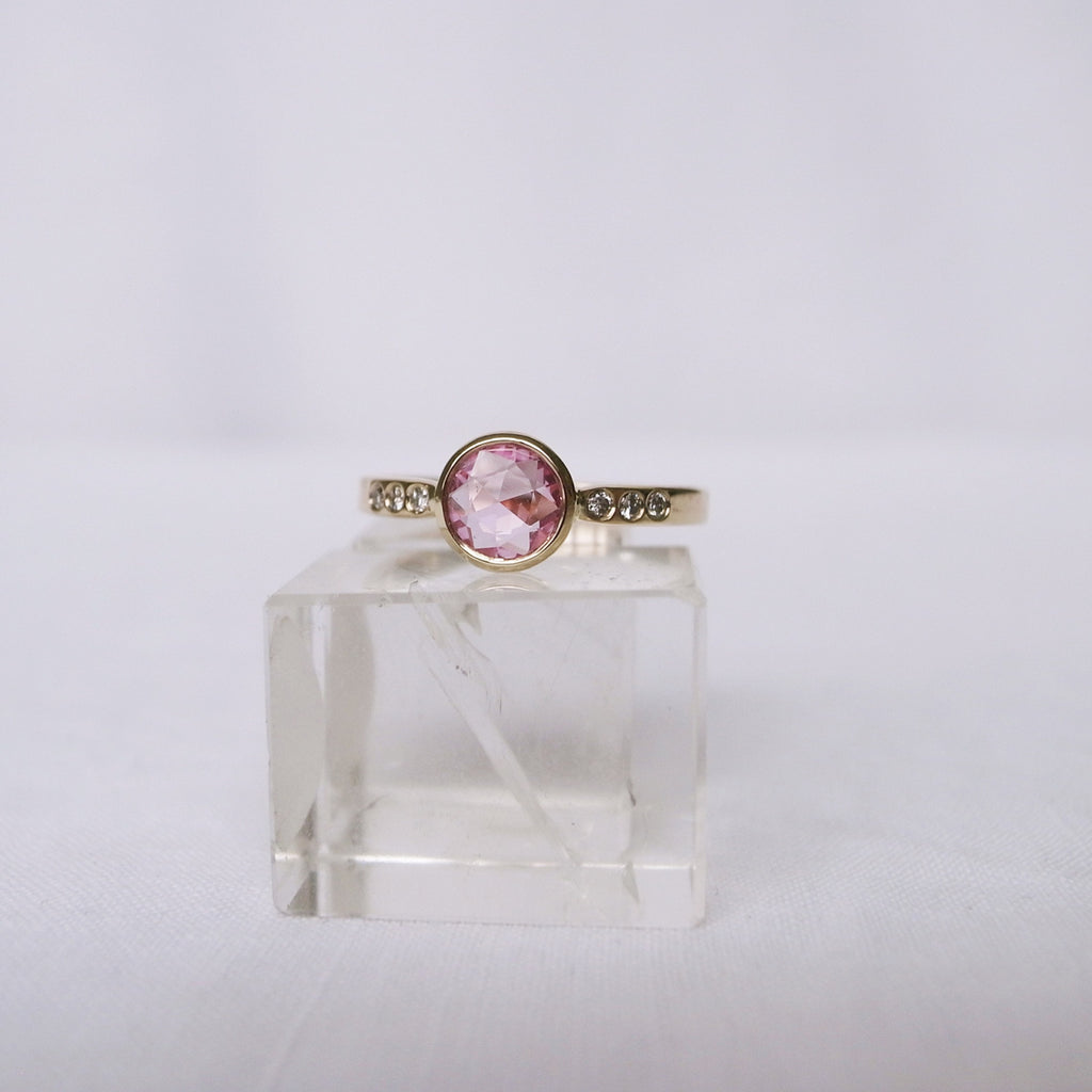 Rose cut pink sapphire ring with diamonds