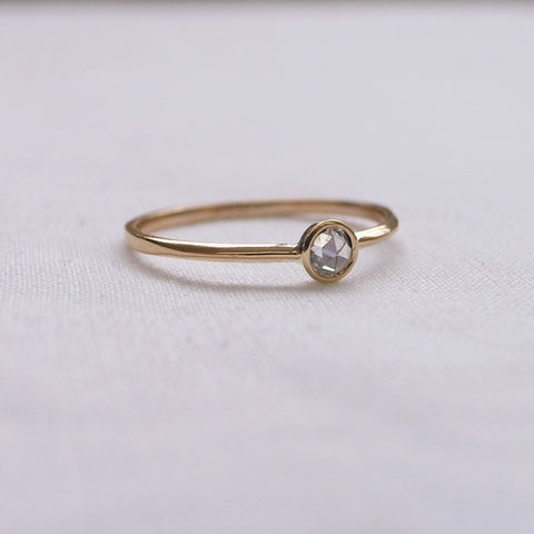 Rose cut solitaire diamond ring
