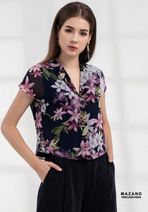 Summer Autumn Collection    Laperls Neck Short Sleeve Black Flowered Motif  Office Shirt