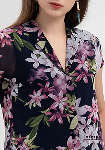 Image of Summer Autumn Collection    Laperls Neck Short Sleeve Black Flowered Motif  Office Shirt