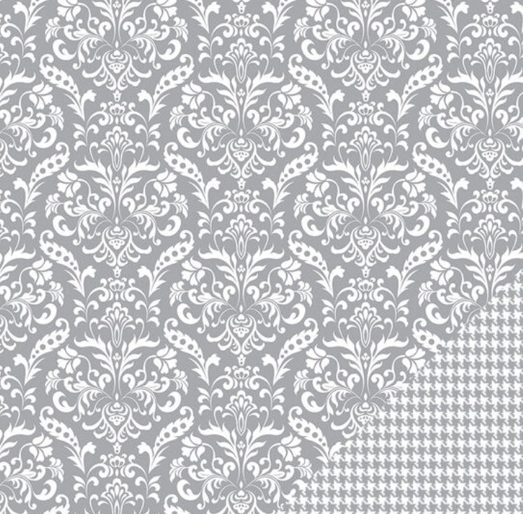 "American Crafts Grey Damask 12""x12"" paper"