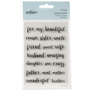 Spellbinders Clear Acrylic Stamps Family Sentiments