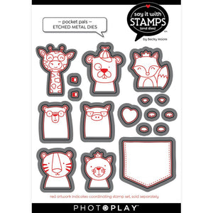 PhotoPlay Say It With Stamps Die Set Pocket Pals