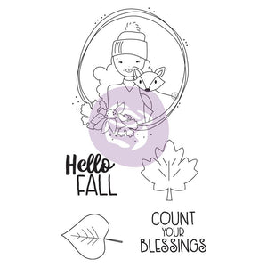 Prima Marketing Julie Nutting Mixed Media Cling Rubber Stamp Hello Fall