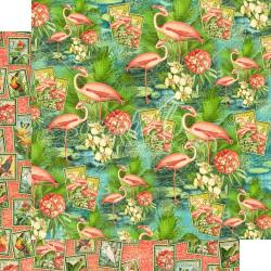 "Lost In Paradise Double-Sided Cardstock 12""X12"" Flamingo Lagoon"