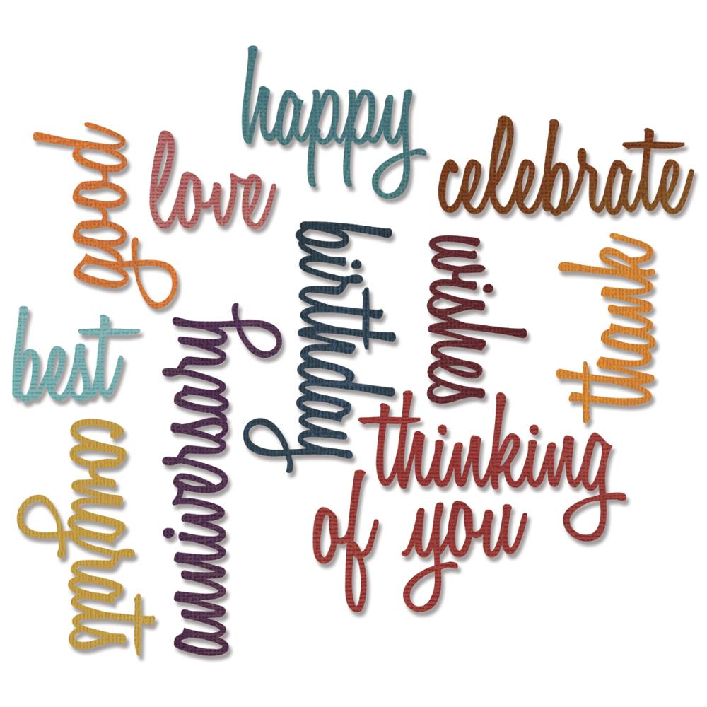 Sizzix Thinlits Die Set 13PK - Celebration Words: Script Item #660223