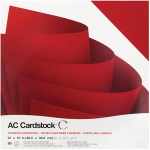 "American Crafts Textured Cardstock Pack 12""X12"" 60/Pkg Crimson"