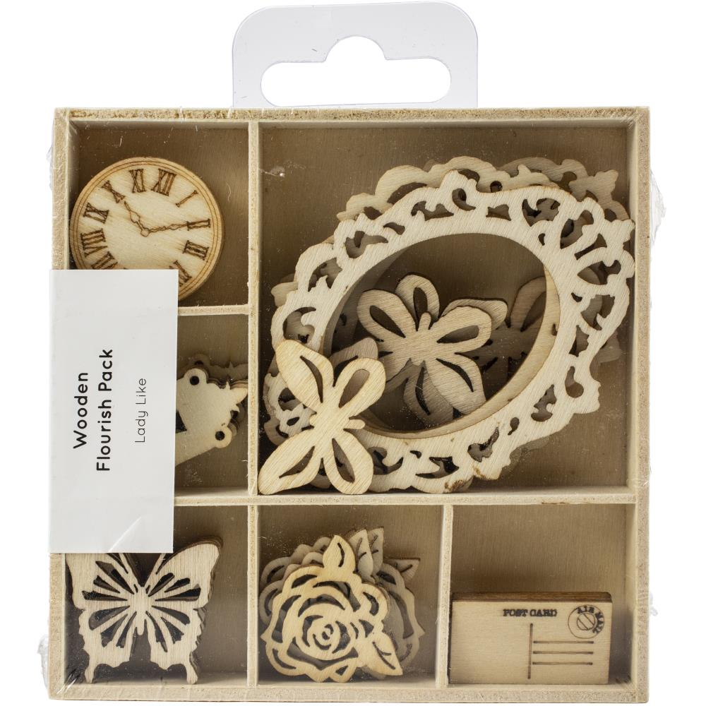 Kaisercraft Wood Mini Themed Embellishments Lady Like