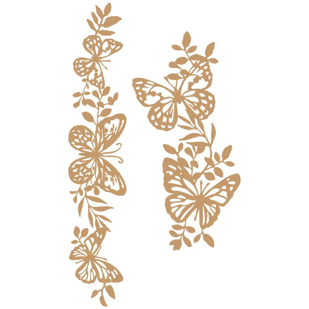 Prima Marketing Laser Cut Chipboard Butterfly Borders, 2/Pkg