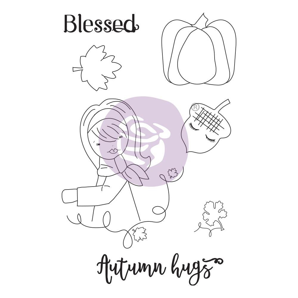 Prima Marketing Julie Nutting Mixed Media Cling Rubber Stamp Autumn Hugs