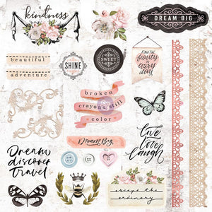 Apricot Honey Cardstock Ephemera 51/Pkg Shapes, Tags, Words, Foiled Accents