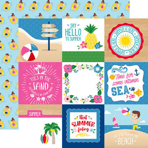 "I Love Summer Double-Sided Cardstock 12""X12"" 4""X4"" Journaling Cards"