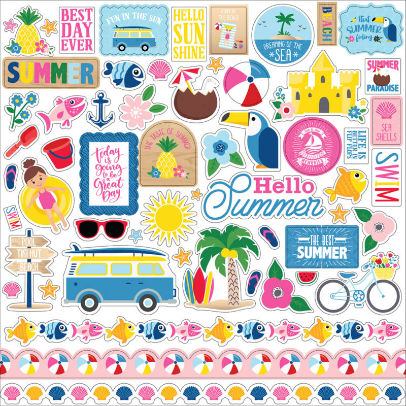 I Love Summer Cardstock Stickers 12