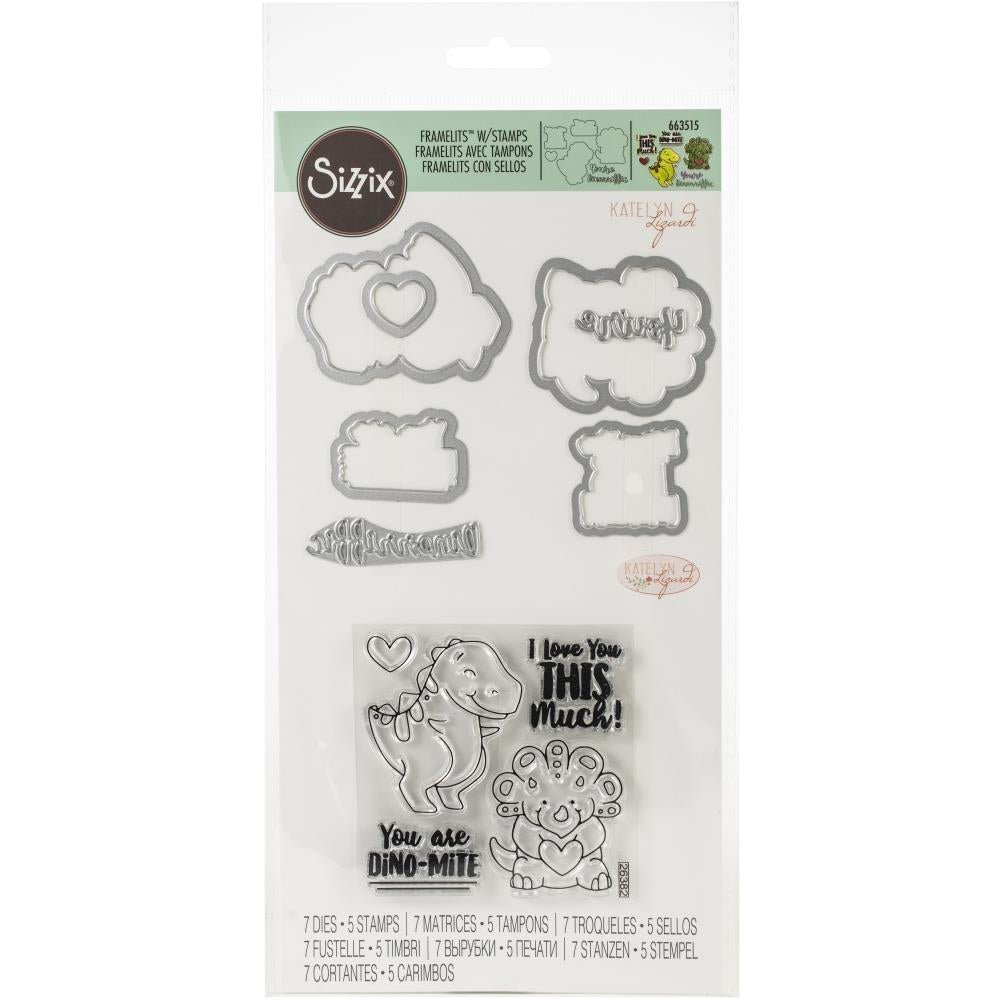 Sizzix Framelits Die & Stamp Set T-Rex By Katelyn Lizardi 7/Pkg