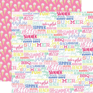 "Best Summer Ever Double-Sided Cardstock 12""X12"" Summer Words"