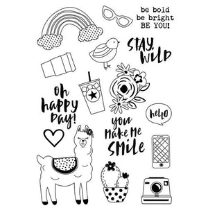 Simple Stories - Oh Happy Day Collection - Clear Photopolymer Stamps - Be You and Die Combo