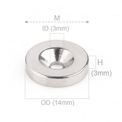 1000 Pcs Countersunk Neodymium Magnets | Size: 14mm(OD) x 3mm(ID)x 3mm | N50 | Nickel(Ni-Cu-Ni) - MAGANETSHUB