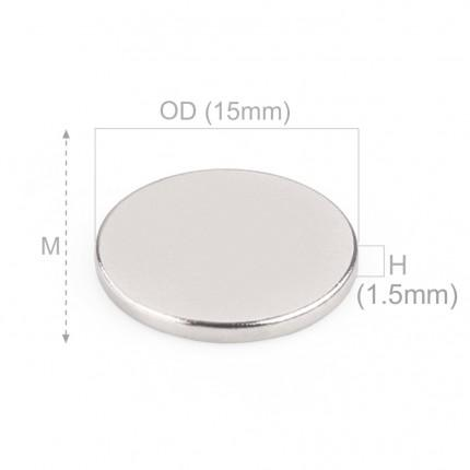 100 Pcs Disc Neodymium Magnets | Size: 15×1.5mm | N42 | Nickel(Ni-Cu-Ni) - MAGANETSHUB