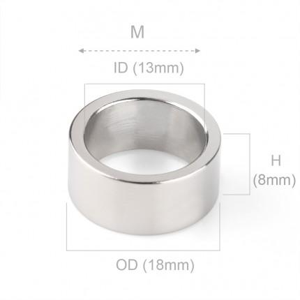 50 Pcs Ring Neodymium Magnets | Size: 18mm(OD) x 13mm(ID)x8mm | N40 | Nickel(Ni-Cu-Ni) - MAGANETSHUB
