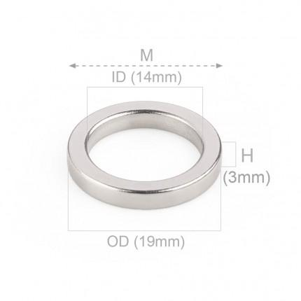 1000 Pcs Ring Neodymium Magnets | Size: 19mm(OD) x 14mm(ID)x 3mm | N50 | Nickel(Ni-Cu-Ni) - MAGANETSHUB