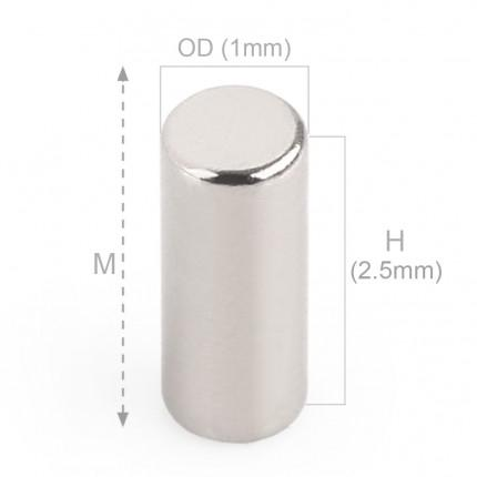 500 Pcs Rod Neodymium Magnets | Size:1×2.5mm | N35 | Nickel(Ni-Cu-Ni) - MAGANETSHUB