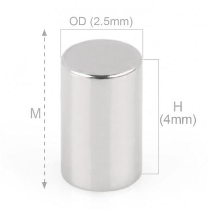 250 Pcs Rod Neodymium Magnets | Size: 2.5×4mm | N50 | Nickel(Ni-Cu-Ni) - MAGANETSHUB