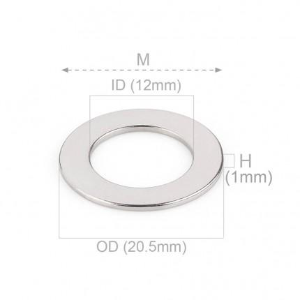 100 Pcs Ring Neodymium Magnets | Size: 20.5mm(OD) x 12mm(ID)x1mm | N35 | Nickel(Ni-Cu-Ni) - MAGANETSHUB