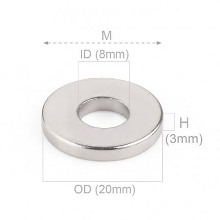 50 Pcs Ring Neodymium Magnets | Size: 20mm(OD) x 8mm(ID)x 3mm | N50 | Nickel(Ni-Cu-Ni) - MAGANETSHUB