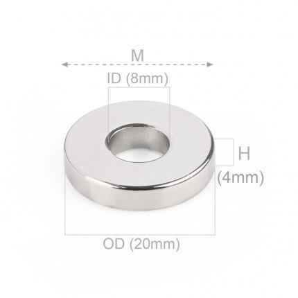 1000 Pcs Ring Neodymium Magnets | Size: 20mm(OD) x 8mm(ID)x 4mm | N48 | Nickel(Ni-Cu-Ni) - MAGANETSHUB