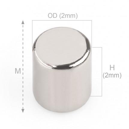 250 Pcs Disc Neodymium Magnets | Size: 2×2mm | N50 | Nickel(Ni-Cu-Ni) - MAGANETSHUB