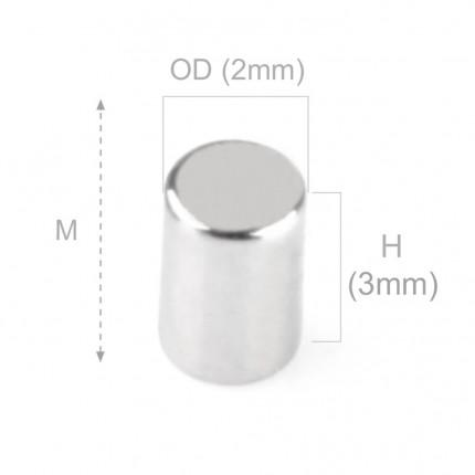 250 Pcs Disc Neodymium Magnets | Size: 2×3mm | N50 | Nickel(Ni-Cu-Ni) - MAGANETSHUB