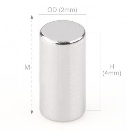 250 Pcs Rod Neodymium Magnets | Size:2×4mm | N35 | Nickel(Ni-Cu-Ni) - MAGANETSHUB