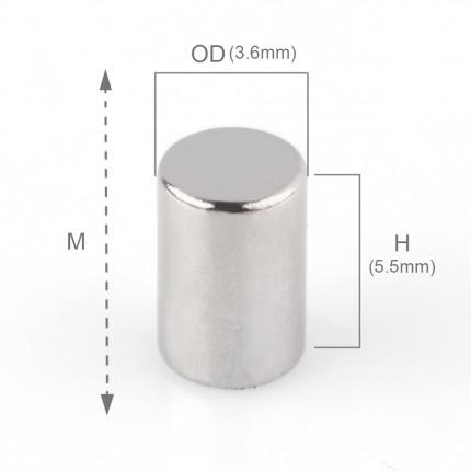 200 Pcs Rod Neodymium Magnets | Size: 3.6×5.5mm | N50 | Nickel(Ni-Cu-Ni) - MAGANETSHUB