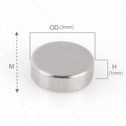 250 Pcs Disc Neodymium Magnets | Size: 3×1mm | N42 | Nickel(Ni-Cu-Ni) - MAGANETSHUB