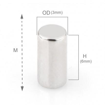 200 Pcs Rod Neodymium Magnets | Size: 3×6mm | N50 | Nickel(Ni-Cu-Ni) - MAGANETSHUB