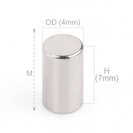 100 Pcs Rod Neodymium Magnets | Size:4×7mm | N35 | Nickel(Ni-Cu-Ni) - MAGANETSHUB
