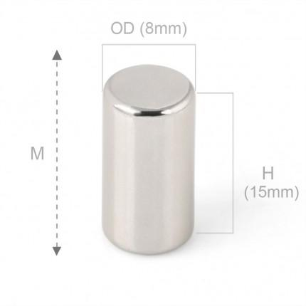 50 Pcs Rod Neodymium Magnets | Size: 8×15mm | N42 | Nickel(Ni-Cu-Ni) - MAGANETSHUB
