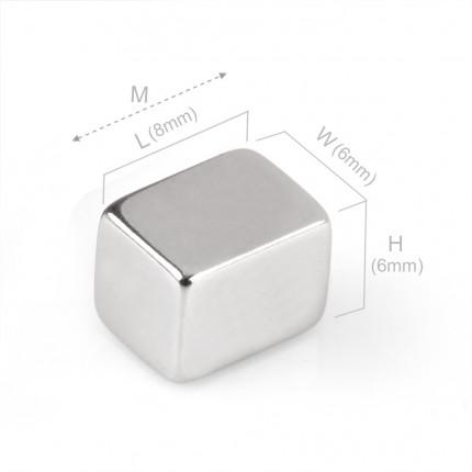 50 Pcs Block Neodymium Magnets | Size: 8×6×6mm | N48 | Nickel(Ni-Cu-Ni) - MAGANETSHUB
