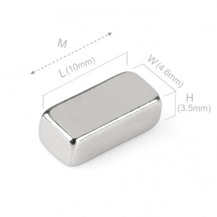 100 Pcs Block Neodymium Magnets | Size: 10mm×4.6mm×3.5mm | N35 | Nickel(Ni-Cu-Ni) - MAGANETSHUB